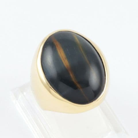 Large Vintage 9Ct 9K Gold Ring With Cabochon Tiger's Eye